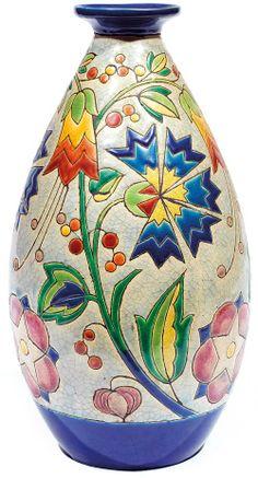 Charles catteau (1880-1966) & kéramis vase ovoïde en faïence à col ...