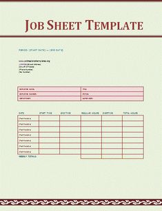 Job Sheet Template Is The Need Of Every Manager, It Has To Deal With  Assigning The Tasks To Concerned Employees And Then Put A Check On Their  Performance