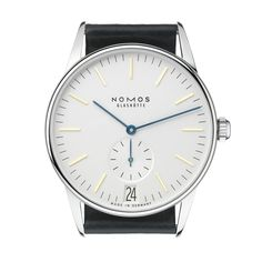 Clean and clear, with a little twist in blue and gold. Nomos Orion Datum.