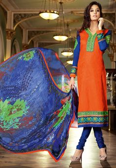 Set the stage on fire wearing this Orange-Blue Color Cotton Satin Jacquard Designer Salwar Kameez which is accompanied with a matching bottom and printed dupatta.