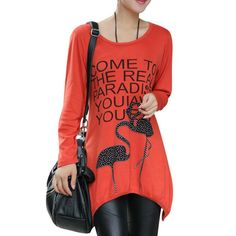 Find More T-Shirts Information about JOYINPARTY Big Size L 4XL Summer Lady T shirt Ropa Mujer Long Length Loose Women Cotton Tops & Tees Round Neck Flamingos Pattern,High Quality women cotton tops,China ladies t shirt Suppliers, Cheap loose women from Sally's Fashion Store on Aliexpress.com