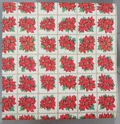 4 SHEETS of VINTAGE 1960's CHRISTMAS FOLDED WRAP PAPER NOS POINSETTIAS & STRIPES (11/09/2014)