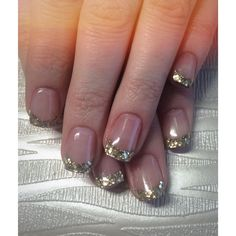 Shinny Gold French Tipped Acrylic Nails