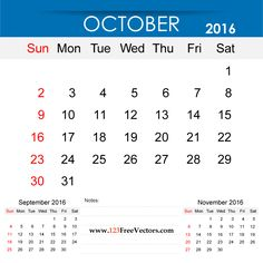 Free Download October 2016 Calendar Printable Template Vector Illustration. Can be used for business, corporate office, education, home etc.Free Editable Monthly Calendar October 2016 available in Adobe Illustrator Ai