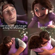 """Tangled :D  I love this scene :D  """"Did I ever tell you I've got a thing for brunettes?"""""""
