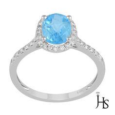 Women's 14K White Gold 1.33 Cts 32Round Diamond &Natural Sky Blue Topaz Ring-JHS #WomensFancyGemStoneRingJHS
