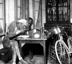French cyclist Robert Jacquinot in a café during the 1922 Tour de France