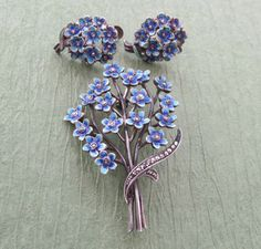Forget Me Nots Brooch And Earring Set Antique German Blue Enamel Sterling Silver Marcasite Flower Pin