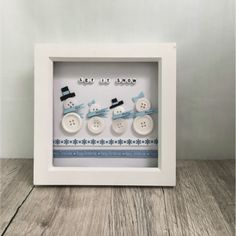 A stunning button picture featuring a family of snowmen wearing personalised scarves.