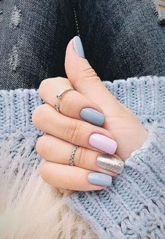 27 Classy Nail Art Design For Winter * remajacantik Nails 27 Classy Nail Art Design For Winter 21 Grey Nail Designs, Winter Nail Designs, Acrylic Nail Designs, Blue Nail, Pink Nails, Pastel Nails, Stylish Nails, Trendy Nails, Shellac Nails