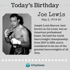 Joe Lewis Boxer, Todays Birthday, World Heavyweight Championship, Joe Louis, Black History, Biography, All About Time, Biographies, Biography Books