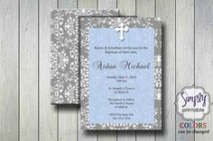Blue First Holy Communion / Baptism Invitation by simplyprintable
