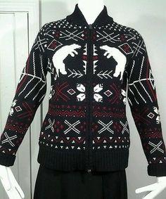 Ralph Lauren Polar Bear Black Red White Full Zip LambsWool Ski Sweater Womens S