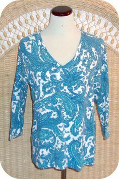 JONES NEW YORK Womens Top Size XL Turquoise White Paisley 3/4 Sleeve Cotton  #JonesNewYork #KnitTop #CareerCasual