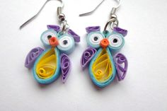 Quilled Earrings Owls funny quilling jewelry by PaperDreamland