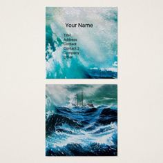 Ship In the Sea in Storm Square Business Card #navy #fineart #ships #marine #waves #ocean #sailing #maritime #travel
