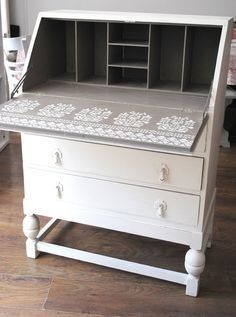 Vintage white writing bureau with Jaipur, Rajasthan and Bukhara stencils.Nicolette Tabram