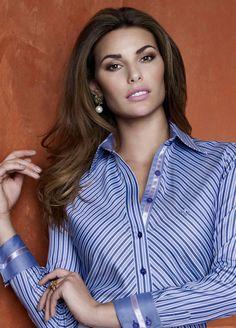 Camisa, dudalina, listrada azul.