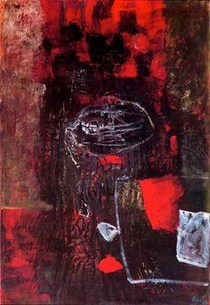 """Antoni Clavé Sanmartí (1813 - 2005) . """"Guerrier au bouclier, 1960"""". 105 x 75 cm."""