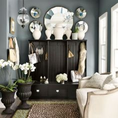 Triple Beadboard Entry Cabinet - love the wall color. My Living Room, Living Spaces, Cozy Living, Ballard Designs, Wall Colors, Paint Colors, Home Furniture, Entryway Furniture, Furniture Layout