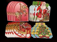 Vintage Christmas Boxed Cards 17 Die Cut Ornaments Gift Tags Envelopes Unused