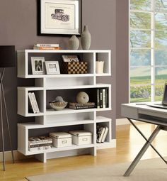 Monarch Hollow-Core 55 in. Modern Bookcase - White - The Monarch Hollow-Core 55 in. Modern Bookcase - White has a unique open design. Great for the living room or bedroom to store books and display your. Modern Shelving, White Bookcase, Small Living Room Decor, Elegant Living Room Decor, Living Room Furniture, Modern Bookcase, Bookshelf Design, Home Decor, Living Room Office