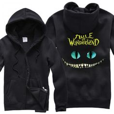 Alice's Adventures in Wonderland Cheshire cat zip-up hoodie #aliceinwonderland #shirts #hoodie