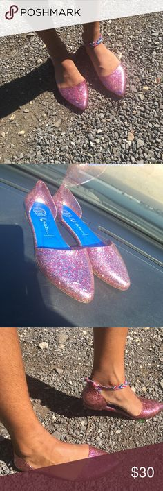 JC Jellies  ✨These awesome pink glitter flats feature a pointed toe and a flexible sole. Cushioned insole, slip on style. They have been lightly worn and there is a small scratch on right shoe (pictured), hardly noticeable. These beautiful jellies have a lot of life in them and are the perfect little flats to go with all your outfits ugh  8/10 overall condition Jeffrey Campbell Shoes Flats & Loafers