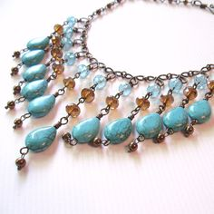 Turquoise Bib Necklace - Bronze Wire Work - Amber Crystal Rondelles - Howlite Turquoise Teardrops