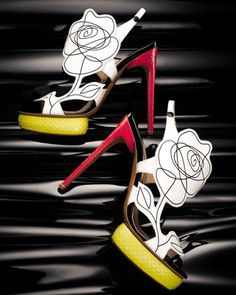 Scribble-Flower Colorblock Sandal - Bergdorf Goodman