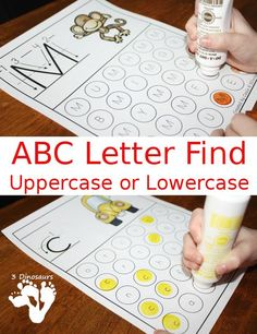 Free ABC Letter Find Uppercase or Lowercase Printable - 52 pages of printables - 3Dinosaurs.com