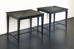 Jean-Michel Frank TWO SIDE TABLES one fitted with drawer with drawer impressed CHANAUX & Co J.M.FRANK 15852, the other impressed 13360 J.M.FRANK CHANAUX & Co  ebonized oak with drawer:  18 1/2  x 23 5/8  x 15 5/8  in. (47 x 60 x 39.7 cm) other:  18 3/4  x 23 3/4  x 15 7/8  in. (47.6 x 60.3 x 40.3 cm) circa 1933
