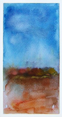 8x4 ORIGINAL Watercolor Painting art on 12X9 paper by studiomosaic