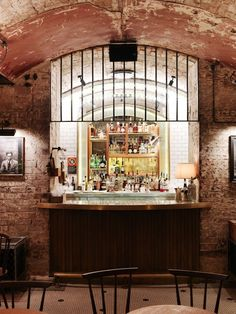 Some more of Sibella Courts genius. A vaulted basement bar I'd like to spend some time in! Cafe Bar, Cafe Restaurant, Restaurant Interiors, Restaurant Ideas, Wet Bar Basement, Basement Ideas, Diy Corner Shelf, Hotel Lobby Design, Restaurant