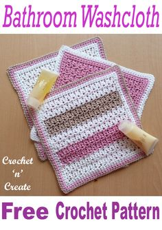 A cotton bathroom washcloth, free crochet pattern, make for gifts, your own bathroom or travel bag, Crochet Towel, Bag Crochet, Crochet Dishcloths, Crochet Gifts, Free Crochet, Washcloth Crochet, Knitted Washcloth Patterns, Crochet Edgings, Crochet Motif