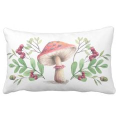 Botanical Mushroom Watercolor Illustration Lumbar Pillow - red gifts color style cyo diy personalize unique