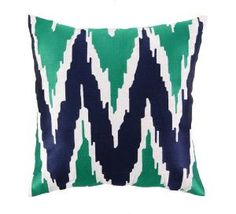 Blue and Green Embroidered Pillow. Product in photo is from www.wellappointedhouse.com