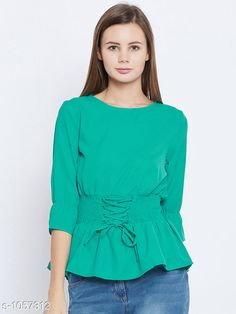 Tops & Tunics Women's Solid Green Crepe Top  *Fabric* Crepe  *Sleeves* Sleeves Are Included  *Size* S - 36 in, M - 38 in, L - 40 in, XL - 42 in, XXL - 44 in  *Length* Up To 36 in  *Type* Stitched  *Description* It Has 1 Piece Of Women's Top  *Pattern* Solid  *Sizes Available* S, M, L, XL, XXL *    Catalog Name: Women's Cotton Tops & Tunics CatalogID_128974 C79-SC1020 Code: 083-1057312-