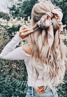 Half-up Hairstyle with Scarf Tie #style #summer #hair