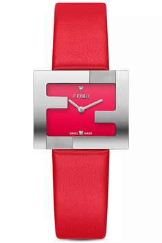 Brand New and Authentic Fendi Fendimania FF Logo Bezel Red Dial Women's Watch - It comes in Original Packaging - Reference Code Brand Name Watches, Top Luxury Brands, Stainless Steel Case, Classic Looks, Luxury Branding, Brand Names, Fendi, Swiss Watch, Quartz