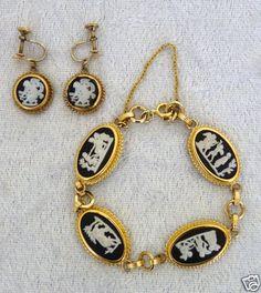 Vtg Wedgwood Jasperware Black Cameo Bracelet Earrings Set GP Marked   eBay