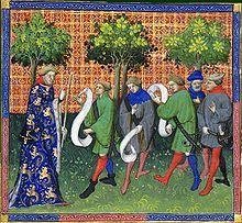 Enluminure tirée du livre de chasse de Gaston Phébus -Dès le 13°s on prends conscience de l'importance des forêts. Le bois se rarefie et se renchérit, principal combustible et matériau de construction. D'autre part, la forêt menace de ne plus remplir son rôle nourricier et de terrain de chasse pour la noblesse. Charles V promulgue en 1376 une ordonnance où les forêts royales sont confiées à 6 maîtres forestiers.