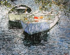 """boats under mangroves / riddell bay  bermuda  36"""" x 48""""  micheal zarowsky / mixed media (watercolour / acrylic painted directly on gessoed birch panel  (private collection)"""