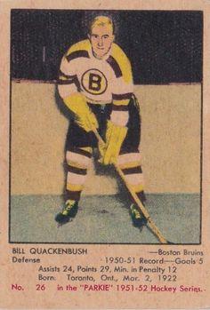 Bill Quackenbush - Boston Bruins. 1951-52 Parkhurst rookie hockey card.