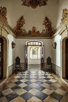 A foyer at Pousada dos Lóios, a monastery turned boutique hotel in Évora.