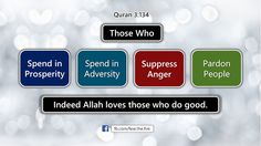 Those who spend in prosperity, spend in adversity, suppress anger and pardon people, indeed Allah loves those who do good.
