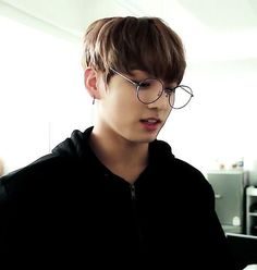 He looks smarter yet cute with these round glasses Jungkook BTS
