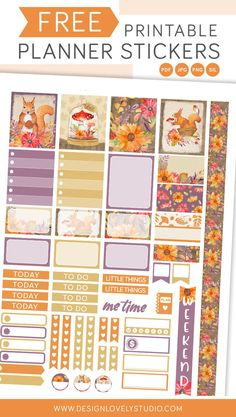 Super Cute Free Printable Fall Planner Stickers Kit with Cut Files To Do Planner, Cute Planner, Happy Planner, Planner Ideas, Printable Planner Stickers, Free Printables, Printable Calendars, Journal Stickers, Sticker Organization