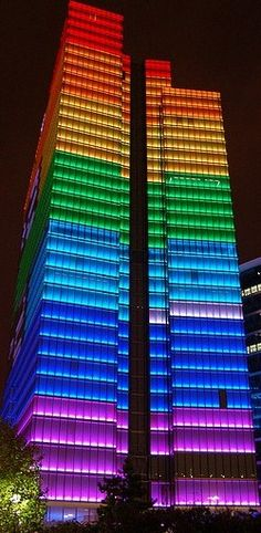 Amazing layers of this buildings lit up with the magic of colored lights.