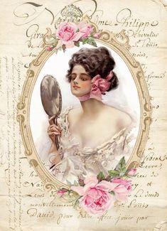 Clip Art Vintage, Images Vintage, Vintage Cards, Vintage Postcards, Decoupage Vintage, Portrait Art, Portraits, Etiquette Vintage, Old Stamps